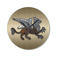 Decorative Wall Clock with mosaic griffin on gold background, fantasy art clock