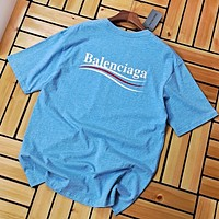 Balenciaga New fashion letter print couple top t-shirt Blue