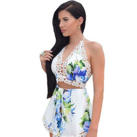 Fashion Women Floral Printed Sexy Floral Printed Backless Halter Neck Sleeveless V Neck Erotic _ 12587
