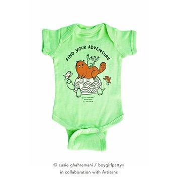 Find Your Adventure! Animal Baby Onesuit (Green)