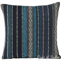 "EYES OF INDIA - 16"" BLUE STRIPED DHURRIE DECORATIVE THROW PILLOW CUSHION COVER Boho Bohemian"