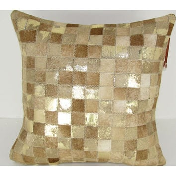 Design Accents SGC 113 Inch Square 20x20 Beige Gold Beige and Gold Leather and Velvet Sqaure 20 x 20 Decorative Pillow