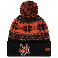Cincinnati Bengals New Era Snowburst Knit Beanie – Black/Orange