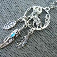 Dreamcatcher Wolf necklace, Turquoise Feather