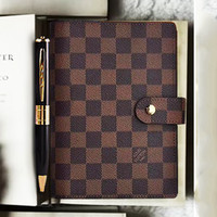 LV Tide brand old flower checkerboard retro classic hand book notebook #2