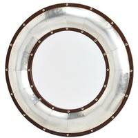 30in Round Wood & Leather Mirror