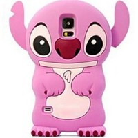 Pink i9600 S5 Disney 3D Stitch pink Ears can Move Silicone Soft Case Cover for Samsung Galaxy S5 i9600 SV S V