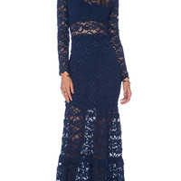 Nightcap Dixie Lace Long Sleeve Gown in Navy
