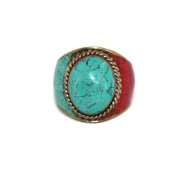 turquoise hippie ring