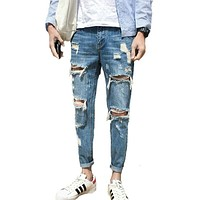Casual Men Stretchy Ripped Denim Jeans