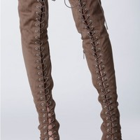 Strut It Lace Up Thigh High Boots