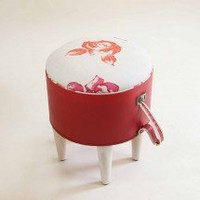 Hatbox Ottoman ? Red Roses ? Seating ? Recreate