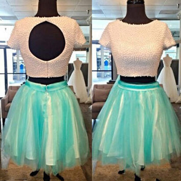 Two Pieces Short Homecoming Dress with Pearl