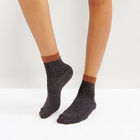 ASOS Ribbed Glitter Ankle Socks in Bronze at asos.com