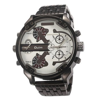 50mm Oulm Mens Watch- Metal Band in Black and White Face