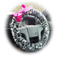 Snow Leopard steering wheel cover animal print cheetah faux furry fur fluffy fuzzy car with Hot Barbie Pink Satin Bow