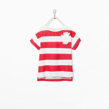 Cool Summer Floral Stripes Cotton Tops Children T-shirts [4919494404]