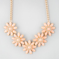 Full Tilt 5 Flower Statement Necklace Peach One Size For Women 25577870601