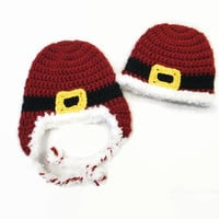 Baby Santa Hat - Knit Christmas Hat - Newborn Christmas Outfit