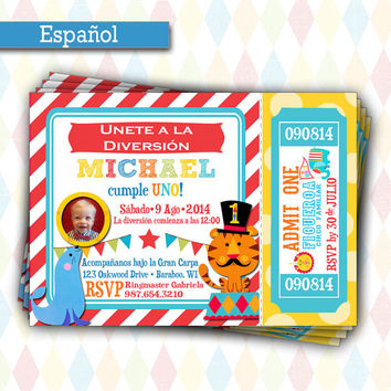 Fisher Price Circus Birthday | 1st Birthday Carnival Party Ticket Invitation, Printable, Picture Invitation
