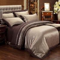 PRINCESS 4-Piece Luxury Bedding Duvet Cover Set - Brown (KING, QUEEN)