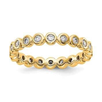 Natural 1/2 Ct. Bezel Set Diamond Eternity Wedding Band Ring in 14k Yellow Gold
