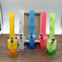 "Silk Printing Frosted Slim portable acrylic bong Height 200mm/7.87"" WATER PIPE Shisha hookah smoking glass bong bubblers METAL PIPE"