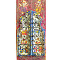 Vintage Hand Painted Double Doors Yoga Interior Hand Carved Two Door