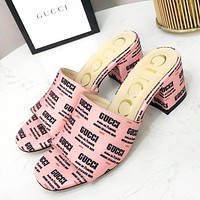 GUCCI Fashion New More Letter Print Leather High Quality Slippers Sandals Mid-Heeled Shoes Women Pink
