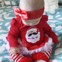 Babies First Christmas, Bow, Leggings and Shoes, Baby Christmas Tutu