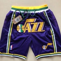 Just Don Utah Jazz Vintage Embroidered Pocket Zipper Basketball Swingman Shorts