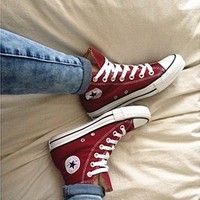 Converse All Star Sneakers canvas shoes for women sports shoes high-top wine red