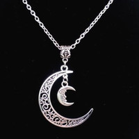 Moon Crescent Necklace Vintage Silver Charm Choker Chain Collar Statement Necklace Pendant Jewelry Fashion Women Gift DIY B206