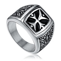 Stainless Steel Vintage Cross Ring