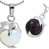 ON SALE - Wave Rider Dolphin and Cat Eye Necklace