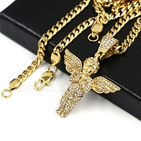 316L Stainless Steel Blinged Out Holy Praying Angels w/ 4mm Miami Cuba Chain