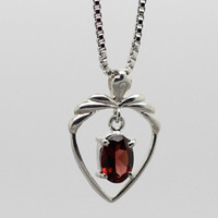 Red Garnet Sliver Necklace, 925 Garnet Pendant, November Birthstone, Birthdays, Wedding, Valentine's Day, Anniversaries, Gift for Mom