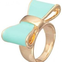 Cute Daily Lacquered Bow Ring in Mint | Sincerely Sweet Boutique
