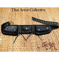 Leather Utility Belt Bag / Festival Hip Pouch / Travel Pocket Belt  - CORSET
