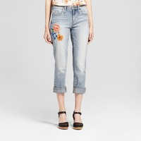 Women's Jeans High Rise Floral Embroidered - Mossimo™ Light Wash