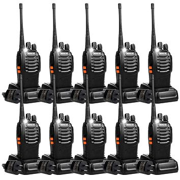 Retevis H-777 Two Way Radios Long Range Rechargeable,Hands Free Handheld Flashlight Walkie Talkies, Fast Charging USB Wall Adapter,Charger Base,Battery Included (Black, 10 Pack)