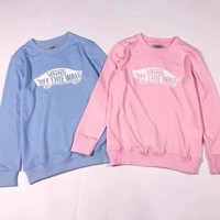 Vans Logo Print Round Neck Long Sleeve Pullover Sweatshirt Top Sweater