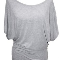 YogaColors Crystal Boatneck Sheer Dolman Sleeve Blouse Jersey Tee Up to Plus Size