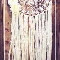 Floral Gold & Off White Gypsy Shabby Chic Boho Crochet Doily Dreamcatcher // Wedding Decor // Baby Nursery Decor