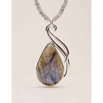 Silver Labradorite Beaded Necklace - One of a Kind
