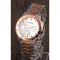 PANDORA Popular Woman Men Color Diamond Movement Quartz Watch Business Wrist Watch Silvery+Rose Golden I-YY-ZT