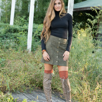 Olive Faux Suede Skirt