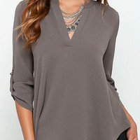 Dark Gray V Neck Blouse with Adjustable Sleeves