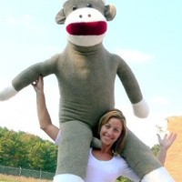 American Made Plush Giant Sock Monkey 6 Feet Tall Soft Huge Stuffed Animal Made in USA America