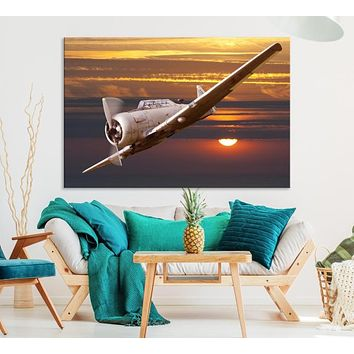 Large Aviation Wall Art Airplane on Sunset Canvas Print